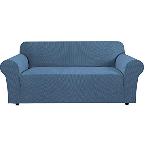 Upgrade Thicken fundas de sofa elasticas de 1 pieza para 1 2 3 4 plazas,Funda de sofá para perros Gatos Mascotas Niños,Juegos de Sofás protectora de muebles suave con fondo para sala de estar,Azul(