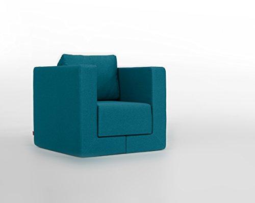 FEYDOM Verwandlungssessel Schlafsessel Loungesessel Lesesessel Gästebett Liege Q6 Webstoff Türkis blau, German Design Award Nominee 2013, Design-Sessel zum relaxen, Liegefläche 192cm x 75cm