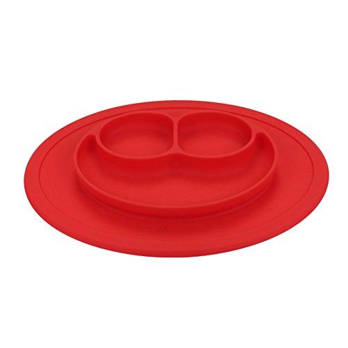 Coque en silicone Assiette Grade Silicone Ventouse antidérapante Portable divisé Section Smile pour nourrir bébé Plateau Assiette Bol Red