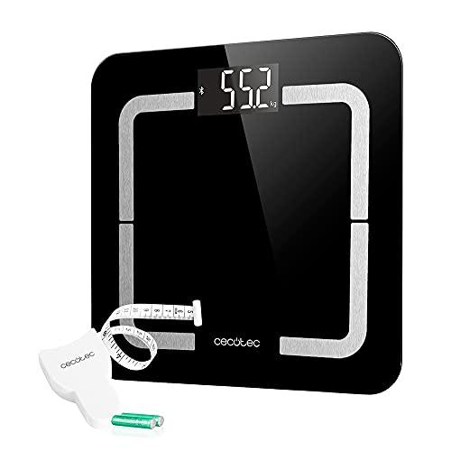 Cecotec Báscula de Baño Digital inteligente Surface Precision 9500 Smart Healthy. Alta precisión, Cristal templado color negro de alta seguridad, Pantalla LCD invertida, 180K