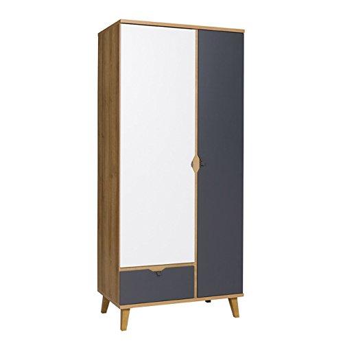Mirjan24 Drehtürenschrank Memone TM07 mit 2 Türen und Schublade, Kleiderschrank mit Kleiderstange, Elegantes Schrank für Jugendzimmer, Schlafzimmer (Eiche Gold/Graphit)
