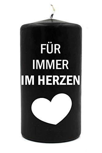 WB wohn trends Trauer-Kerze, Für Immer im Herzen, schwarz weiß, 15cm d=8cm, Spruch-Kerze Gedenk-Kerze