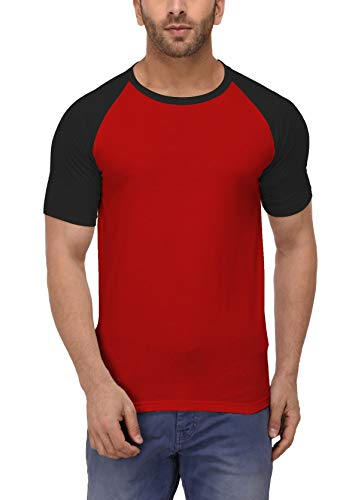 Decrum Red and Black Soft Cotton Jersey Short Sleeve Raglan Shirts for Men | Red&Blk SHS, M