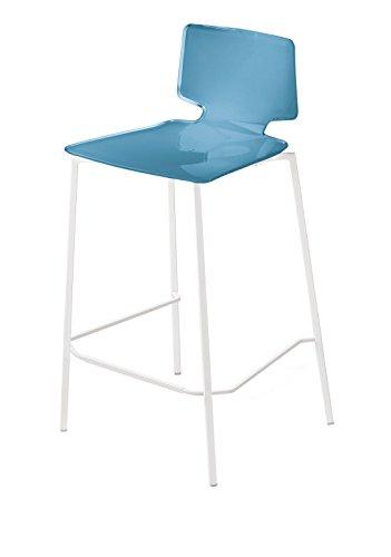 Fratelli Guzzini Home Kruk, PMMA/staal, lichtblauw, 45 x 50 x 88 cm