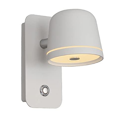 Lámpara de cabecera LED con interruptor, protección ocular con atenuación sin electrodos Lámparas pared de lectura modernas, portalámparas giratorio de 340 grados, iluminación interior, luz nocturna