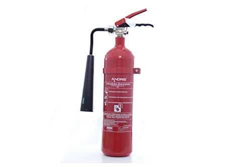 Feuerlöscher 2kg CO2 Kohlendioxid mit Schneedüse/Horn EDV geeignet EN 3 inkl. ANDRIS® Prüfnachweis mit Jahresmarke & Orig. ANDRIS® ISO-Symbolschild