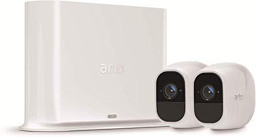 Arlo Pro2 Smart Home 2 HD-Überwachungskameras & Sicherheitsalarm (130 Grad Blickwinkel, kabellos, WLAN, Bewegungsmelder, Innen/Außen, Nachtsicht, wetterfest, 2-Wege Audio) weiß, VMS4230P