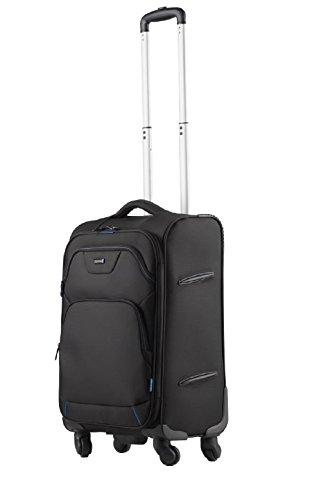 Lightpak Reisetrolley LUNAR, Rollkoffer aus Polyester, Reisekoffer mit Vier 360° Leichtlauf-Rollen Koffer, 60 cm, 29L, Schwarz