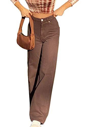 Minetom Damen Jeans Hose mit hoher Taille Y2K Style Harajuku E-Girl Streetwear Hose Casual Pants Slim Vintage Flare Denim Hose A Braun XS