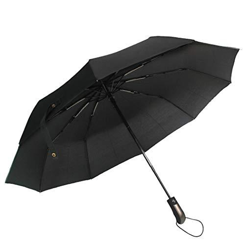 Tinyuet Paraguas Plegable Automático Antiviento, 41 Inch 10 Esqueletos de Paraguas, Paraguas Negro Compacto Resistente al Viento, Paraguas de Viaje-Negro