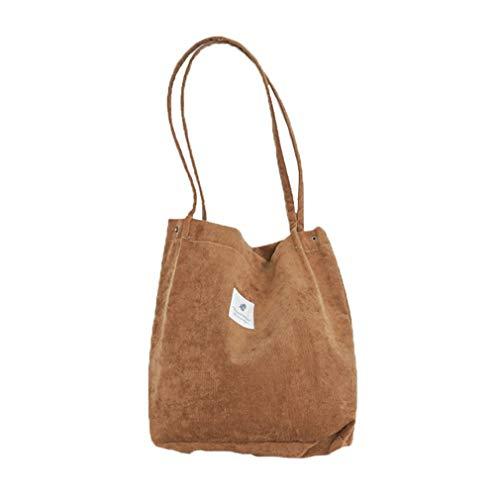 HermosaUKnight Bolso de Pana de Alta Capacidad para Mujer, Bolso de Hombro Informal para Mujer, Bolso de Pana (marrón)
