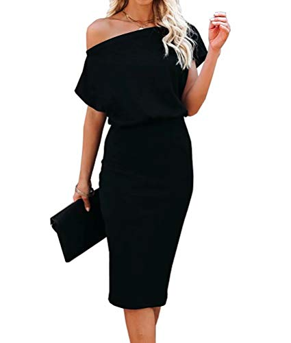 Ezbelle Women's Sexy Off Shoulder Short Sleeve Ribbed Wrap Bodycon Pencil Party Casual Dress Black Large