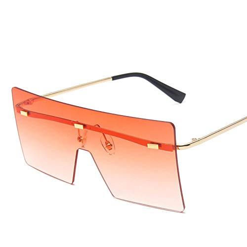 Gafas De Sol Hombre Mujeres Ciclismo Gafas De Sol Clásicas Sin Montura para Mujer Gafas De Sol De Metal De Moda Espejo Cuadrado Gafas De Sol para Hombre-Naranja