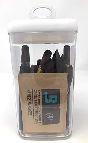 Easy Open Acrylic Cigar Humidor Jar with Boveda 69% 2-Way Humidity System, 25 Cigar Capacity (Square)