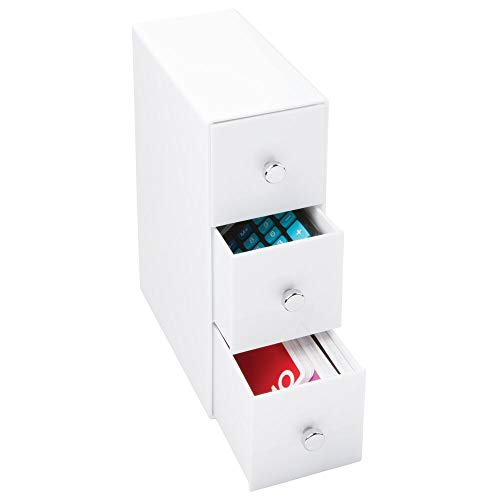 mDesign Organizador con cajones – Color: blanco – Ideal organizador para bolígrafos de escritorio con tres cajones – Práctico accesorio para conseguir el orden en el escritorio de una vez