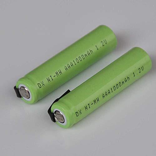 mrwellog Célula de batería Recargable AAA de 1.2V 1000mah con lengüetas de Soldadura para afeitadora eléctrica Cepillo de Dientes-5 Piezas
