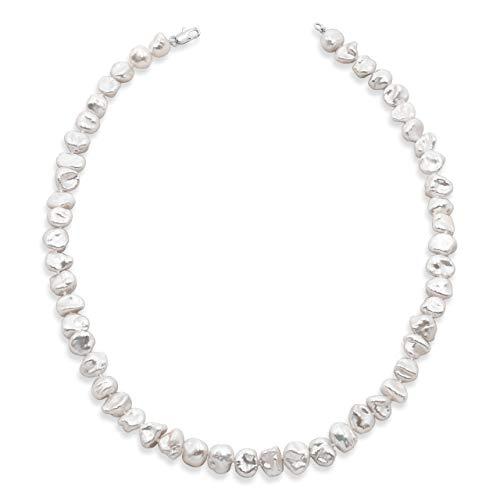 Secret & You Damen Perlenkette Strang Süßwasser Zuchtbarock Keshi Halsband 40 oder 45 cm lang Barocke Keshiperlen, Vier Größen, 7-10 bis 11-12 mm, einfach geknotete Perlen