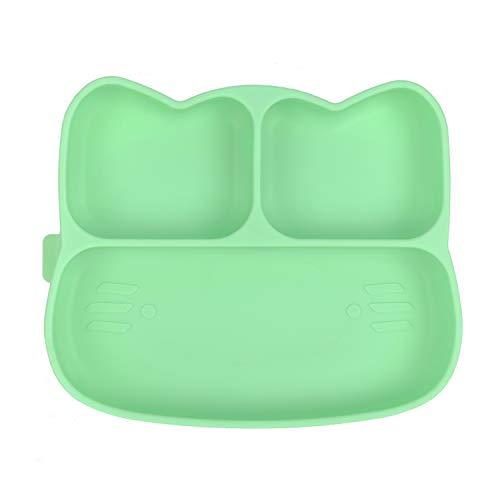 Homvik Plato de Silicona con Ventosa para Bebé Mantel Individual para Bebé Niños Plato Antideslizante Plato de Alimentación para BLW(Verde)