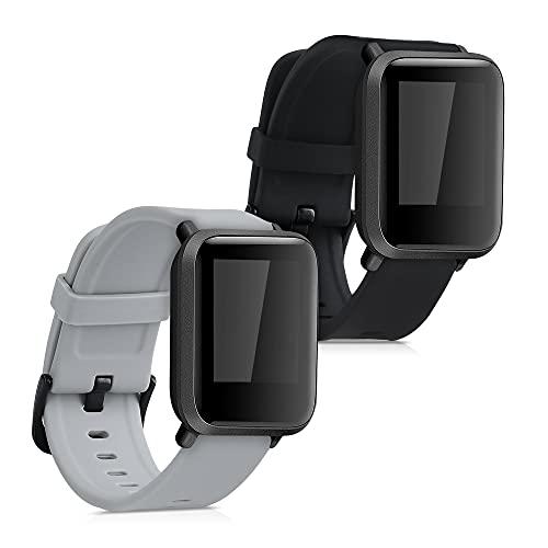 kwmobile 2X Sportarmband kompatibel mit Huami Amazfit Bip S/Bip S Lite - Armband TPU Silikon Set Fitnesstracker Schwarz Grau