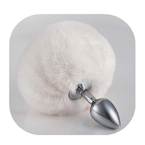 Rabbit Bunny Tail Pl-ùg Entrenador Acero inoxidable ÀN-ûS B ~ UTT Mujeres Hombres Fetiche S ~ ê ~ x Juego de roles Fiesta de disfraces Mascarada Juguetes (Blanco, S) (Salud y Belleza)