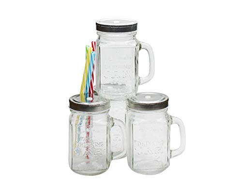 Ard'Time-Set Di 4 Barattoli Drinking Jars In Vetro Con Manico, 450 Ml