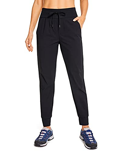 CRZ YOGA Women's Hiking Pants Lightweight Quick Dry Drawstring Joggers with Pockets Elastic Waist Travel Pull on Pants Black Large