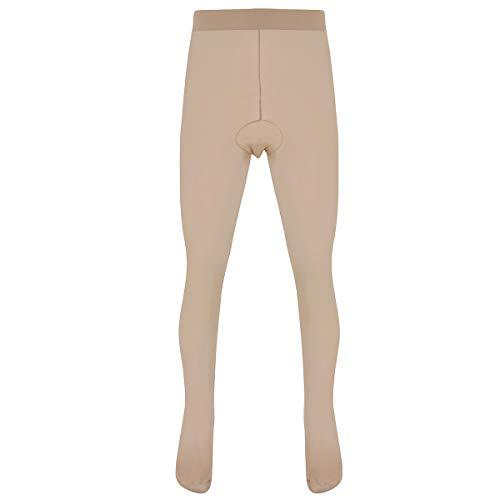 Freebily Herren Strumpfhose Tights Leggings mit Penishülle Pantyhose Männer Tansparent Lange Unterhose Sport Fitness Unterwäsche Hautfarbe C One Size