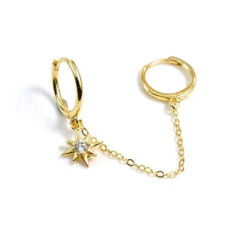 Pendientes de aro de anís de plata esterlina 925 para mujer, pendientes de perforación de diamantes de circonita doble con estrella, pendientes de joyería, Pendientese1