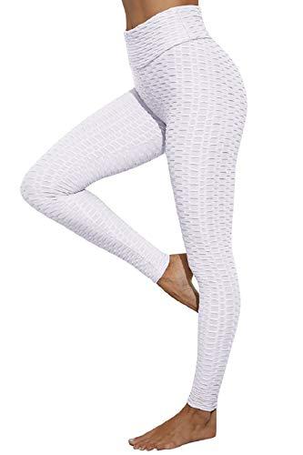 Voqeen Femme Pantalon Yoga Longue Legging de Sport Slim Fit Contrôle Abdominal Butt Lift Elastique Pantalon de Yoga Opaque Fitness Course Compression Legging Anti-Cellulite Collants(Blanc,S)