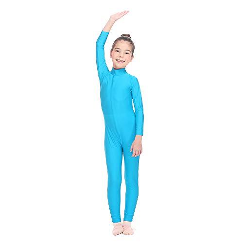 HDW DANCE Girls Unitard Gymnastics High Neck Ankle Length Dance Bodysuit (Medium, River Blue)