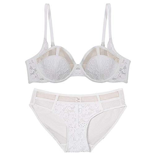 Conjunto de ropa interior de encaje sexy para mujer con sujetador transparente y cómodo para todos los días.