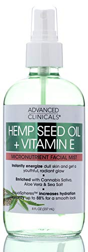 Hemp + Vitamin E Micronutrient Skin Energizing, Instantly Hydrating Face Mist Spray Lightweight, Non-Greasy Premium Facial Toner Spray with Pure, Cold Pressed Hemp Oil by Advanced Clinicals, 8 oz.
