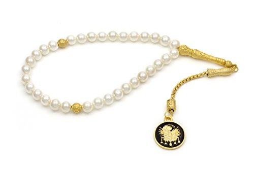 Gök-Türk Cadena de oración Elegante - Tesbih Perlas Blancas con Pendiente de Oro 'Tugra' otomana