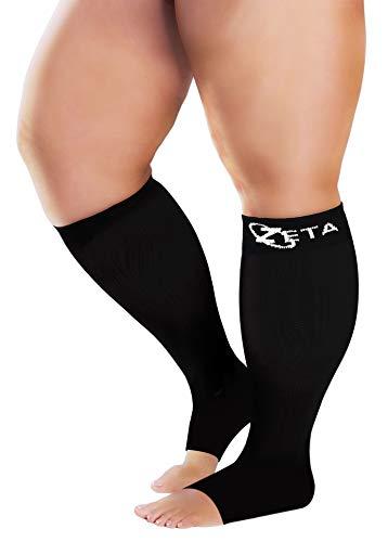 Zeta Socks Open Toe XXXL 26 pulgadas de ancho pantorrilla Plus tamaño compresión 20-30 mmHg para fatiga, dolor, hinchazón de piernas, calmante cómodo apoyo degradado, evita la hinchazón, dolor, edema, DVT (1 par)
