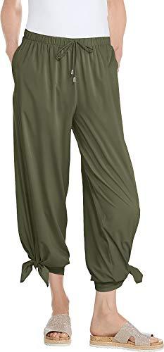 Coolibar UPF 50+ Women's Petra Wide Leg Pants - Sun Protective (Medium- Deep Olive)