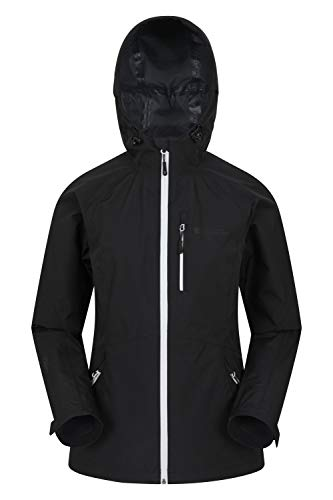 Mountain Warehouse 2,5 wasserdichte Lagen-Jacke für Damen – atmungsaktive Damen Regenjacke, versiegelte Nähte, verstellbar – ideal für Reisen, Camping und Trekking Schwarz 40