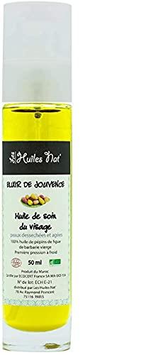 Les Huiles Nat' - Huile de Pépins de Figue de Barbarie Cosmétique 100% Biologique et Ecocertifiée Origine Maroc. 50 ml - Bouteille en verre avec Pulvérisateur