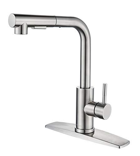 FORIOUS Kitchen Faucets with Pull Down Sprayer, Single Handle Kitchen Sink Faucet with Pull Out Sprayer, Brushed Nickel