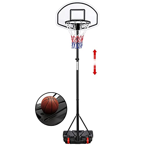 Yaheetech Canestro Basket Esterno Portatile Altezza Regolabile da 196 cm a 251 cm da Camera Interno Pallacanestro Sportivo Nero