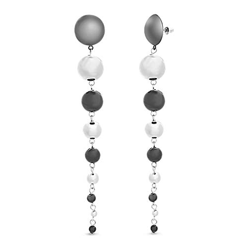 Steve Madden Extra Long Silver Tone and Black Polished Graduated Ball Design Dangle Earrings For Women