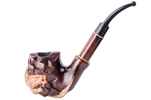 Dr. Watson - Pipa de Fumar de Madera del Tabaco, tallada a mano, se adapta al filtro de 9mm, serie Coleccionable, viene con bolsa, en caja (Dragón en la Roca)