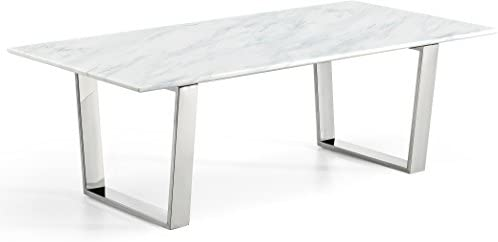 Best Meridian Furniture Carlton Collection Modern   Contemporary Marble Top Coffee Table with Stainless S
