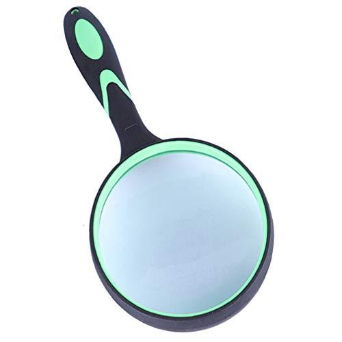 Handlupe mit 10-facher Vergrößerung, mit großer 100-mm-Lupe und rutschfestem Gummigriff, für Senioren und Kinder (1 Stück, grün)