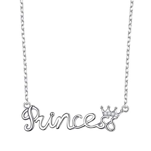 Flyow 925 Sterling Silver White Cz Crown Princess Pendant Word Charm Necklace for Girlfriend Wife Daughter Granddaughter, 18 Inch + 2 Inch