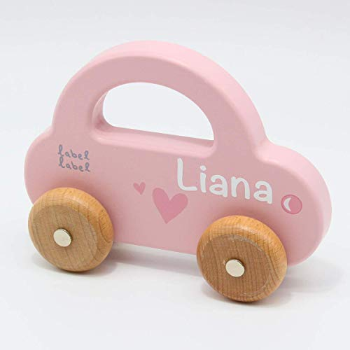 Babygeschenk zum 1. Geburtstag & Geburt Mädchen - Holzspielzeug Holzauto personalisiert rosa   Label-Label   Personalisiert mit Namen
