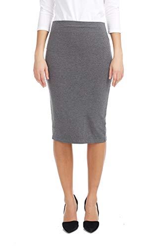 ESTEEZ Womens Modest Lightweight Cotton Lycra Knee Pencil Skirt Charcoal Medium