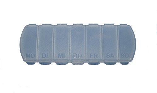 MAXBOX Pillendose für 7 Tage, Tablettendose, Pillenbox mit getrennten Fächern, Medikamentenbox (transparent)
