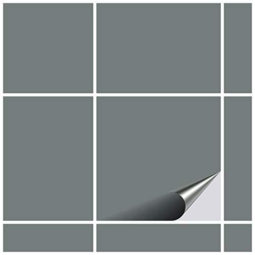 FoLIESEN Fliesenaufkleber 10x10 cm - Fliesen-Folie Bad - Klebefolie Küche - 80 Klebefliesen, Grau matt