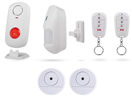 SMARTWARES alarmset: Alarmset: draadloze bewegingsmelder met stand-alone alarm, afstandsbediening & 2 x raamalarm