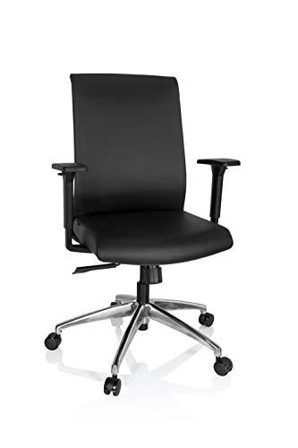 hjh OFFICE 732109 Profi Bürostuhl PROVIDO Kunstleder Schwarz Moderner Drehstuhl ergonomisch, Armlehnen höhenverstellbar